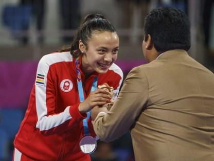Skylar Park du Canada remporte la médaille d'argent en taekwondo féminin chez les moins de 57 kg aux Jeux panaméricains de Lima 2019, le 28 juillet 2019. Photo de Dave Holland / COC
