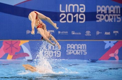 Équipe Canada lors de l'épreuve en équipe aux Jeux panaméricains de Lima, au Pérou, le 31 juillet 2019. Photo : Christopher Morris/COC