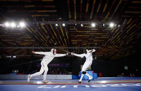 Marc-Antoine Blais Belanger participe à l'épée individuelle aux Jeux panaméricains de Lima, au Pérou, le 5 août 2019. Photo : Christopher Morris/COC