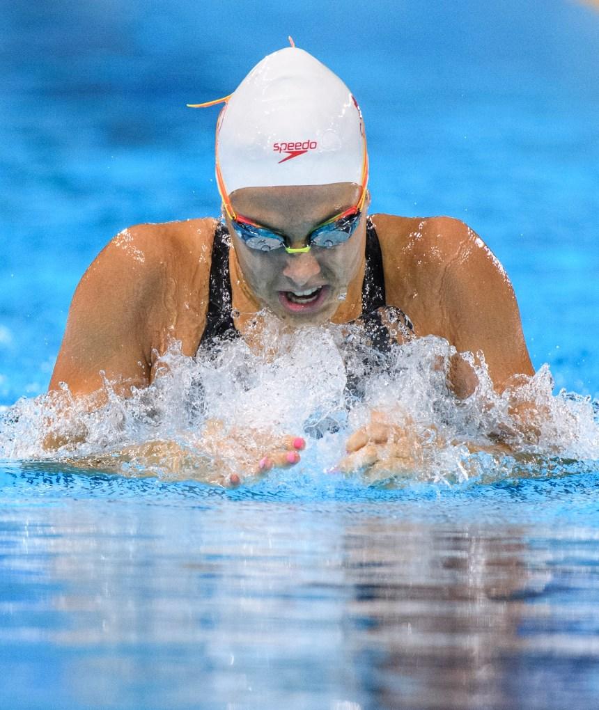 Mary-Sophie Harvey participe à la finale du 200 m brasse aux Jeux panaméricains de Lima, au Pérou, le 8 août 2019. Photo : Christopher Morris/COC