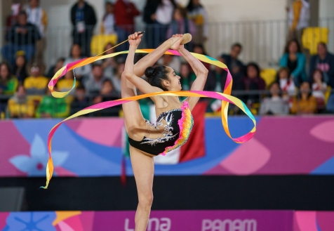 Natalie Garcia participe à la gymnastique rythmique aux Jeux panaméricains de 2019 à Lima, le 3 août 2019. Photo de David Jackson / COC