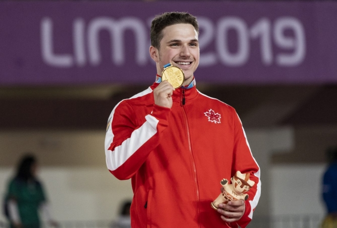 Jérémy Chartier remporte l'or en trampoline aux Jeux de panaméricains de Lima, au Pérou, le 5 août 2019. Photo David Jackson/COC