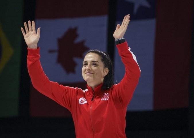 Gabriella Pagé remporte le bronze au sabre en escrime aux Jeux panaméricains de Lima, au Pérou, le 6 août 2019. Photo : Dave Holland/COC