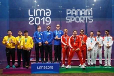 L'équipe masculine canadienne de squash a remporté le bronze aux Jeux panaméricains de Lima, au Pérou, le 30 juillet 2019. Photo : Oscar Muñoz Badilla / Panam Sports via Xpress