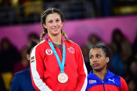 Jade Parsons prend le bronze en lutte gréco-romaine chez les 53 kg aux Jeux panaméricains de Lima, au Pérou, le 8 août 2019. Photo : Andrés Lino/Panam Sports