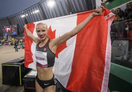 Sage Watson remporte l'or au 400 m haies aux Jeux panaméricains de Lima, au Pérou, le 8 août 2019. Photo : Vincent Ethier/COC