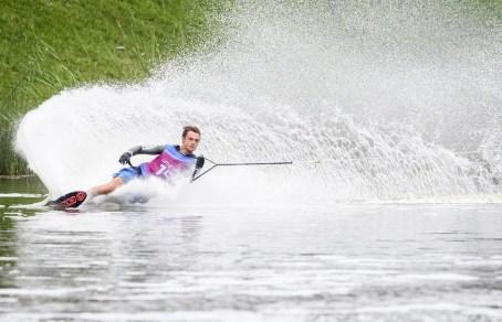 Dorien Llewellyn lors de la finale du ski nautique slalom aux Jeux panaméricains de Lima 2019, au Pérou, le 29 juillet 2019. Photo : Vincent Ethier/COC