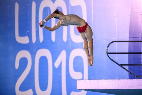 Vincent Riendeau participe à la finale du 10 m aux Jeux panaméricains de Lima, au Pérou, le 5 août 2019. Photo : Vincent Ethier/COC