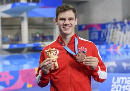 Vincent Riendeau et sa médaille de bronze au 10 m à Lima 2019