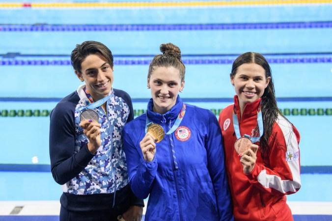 Faith Knelson et sa médaille de bronze au 100 m brasse à Lima 2019