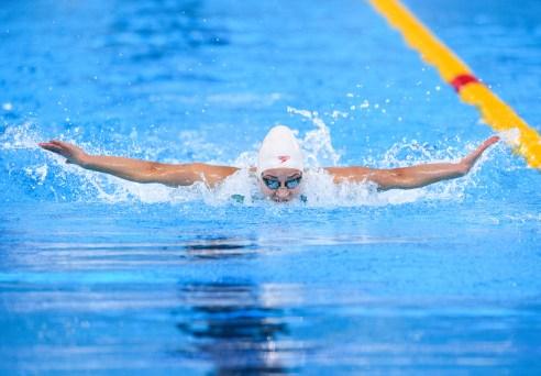 Danielle Hanus participe à la finale du 100 m papillon aux Jeux panaméricains de Lima, au Pérou, le 7 aoput 2019. Photo : Vincent Ethier/COC