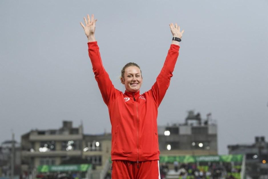 Elizabeth Gleagle a pris l'argent au javelot aux Jeux panaméricains de Lima, au Pérou, le 9 août 2019. Photo : Vincent Ethier/COC
