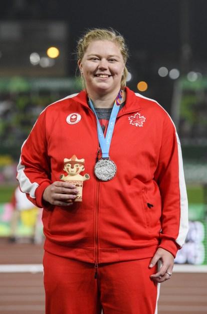 Brittany Crew a gagné l'argent au lancer du poids aux Jeux panaméricains de Lima, au Pérou, le 9 août 2019. Elle a enregistré un nouveau record personnel et canadien de 19,07 m. Photo : Vincent Ethier/COC
