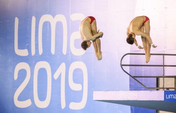 Vincent Riendeau et Nathan Zsombor-Murray participent au 10 m synchronisé masculin aux Jeux panaméricains de Lima, au Pérou, le 2 août 2019. Photo : Christopher Morris