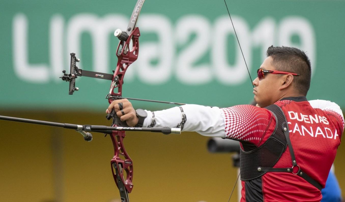 Crispin Duenas participe à la finale de l'arc recourbé aux Jeux panaméricains de Lima, au Pérou, le 11 août 2019. Photo : Christopher Morris/COC