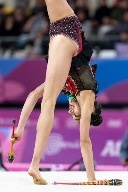 LIMA, Peru - Team Canada's Natalie Garcia competes in rhythmic gymnastics at the Lima 2019 Pan American Games on August 03, 2019. Photo by David Jackson/COC
