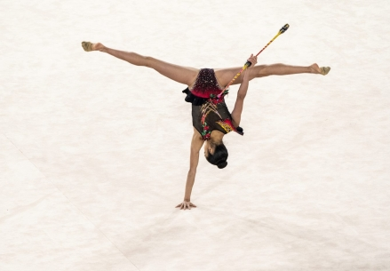 LIMA, Peru - Natalie Garcia of Canada competes during the women's rhythmic club gymnastics finals at the Lima 2019 Pan American Games on August 05, 2019. Photo by David Jackson/COC
