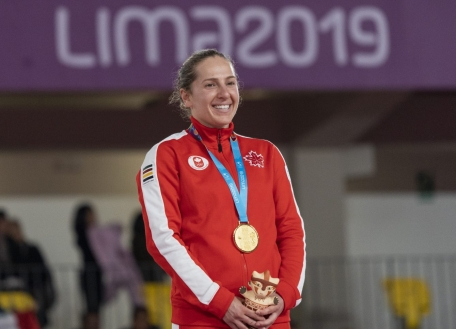 Samantha Smith remporte l'or en trampoline aux Jeux panaméricains de Lima, au Pérou, le 5 août 2019. Photo : David Jackson/COC