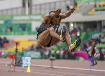 Pierce Lepage à l'épreuve du saut en longueur lors du décathlon aux Jeux panaméricains de Lima, au Pérou, le 6 août 2019. Photo : David Jackson/COC