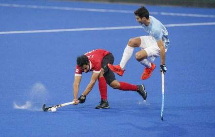 Sukhpal Panesar en action contre l'Argentine lors de la finale de hockey sur gazon aux Jeux panaméricains de Lima, au Pérou, le 10 août 2019. Photo : Dave Holland/COC