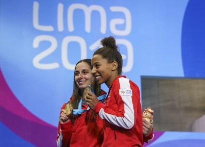 Pamela Ware et Jennifer Abel à Lima 2019.