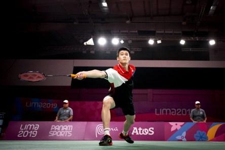 Brian Yang pendant la demi-finale du simple masculin à Lima 2019.