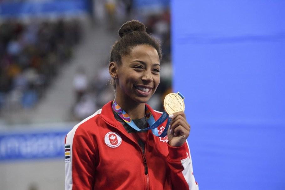 Jennifer Abel remporte l'or au 3 m individuel aux Jeux panaméricains de Lima, au Pérou, le 5 août 2019. Photo : Vincent Ethier/COC