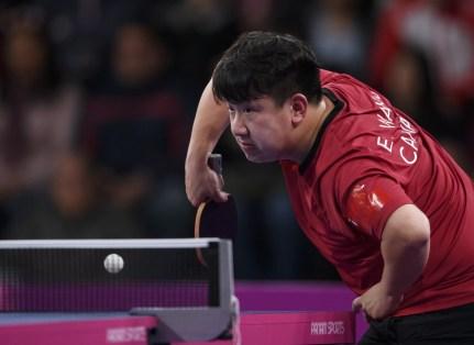 Eugene Wang participe à la finale pour l'or en tennis de table aux Jeux panaméricains de Lima, au Pérou, le 5 août 2019. Photo : Vincent Ethier/COC