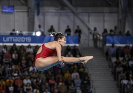 Pamela Ware lors de la finale du 3 m individuel aux Jeux panaméricains de Lima, au Pérou, le 5 août 2019. Photo : Vincent Ethier/COC