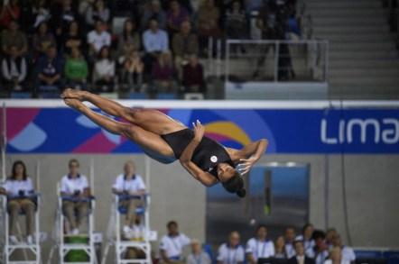 Jennifer Abel lors de la finale du 3 m individuel aux Jeux panaméricains de Lima, au Pérou, le 5 août 2019. Photo : Vincent Ethier/COC