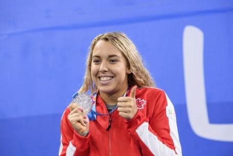Mary-Sophie Harvey remporte l'argent au 200 m papillon aux Jeux panaméricains de Lima, au Pérou, le 7 août 2019. Photo : Vincent Ethier/COC