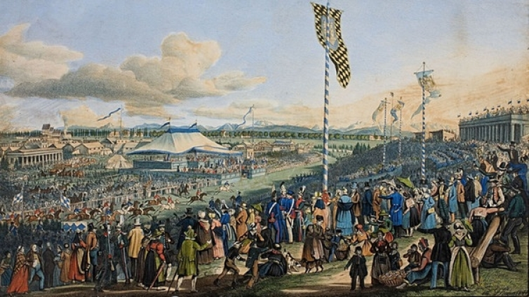 Courses de chevaux à l'Oktoberfest de Munich en 1823 (photo: BR.de)