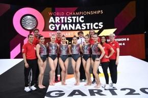 L'équipe féminine de gymnastique aux championnats du monde de Stuttgart, 2019.