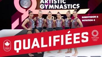 L'équipe canadienne de gymnastique artistique pose bras dessus, bras dessous