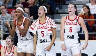 Trois joueuses canadiennes encouragent leurs coéquipières du banc