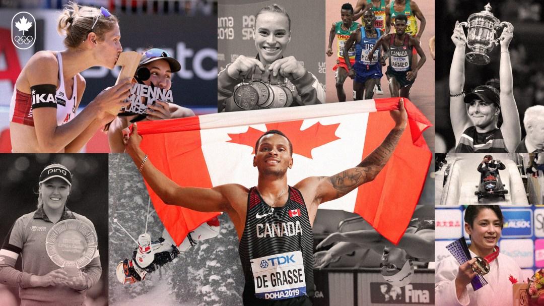 Photomontage des différents athlètes canadiens vedette de 2019