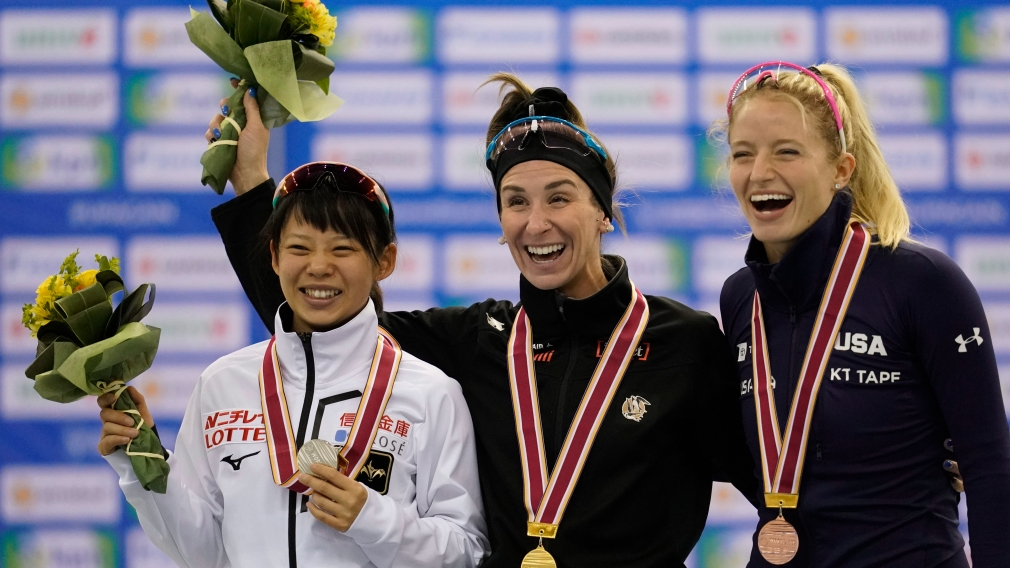 Podium du départ groupé féminin de la Coupe du monde de patinage de vitesse de Nagano, Japon