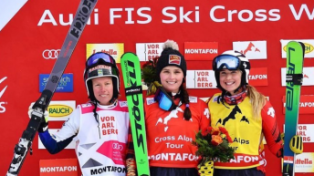 Podium féminin de ski cross de Val Thorens en France