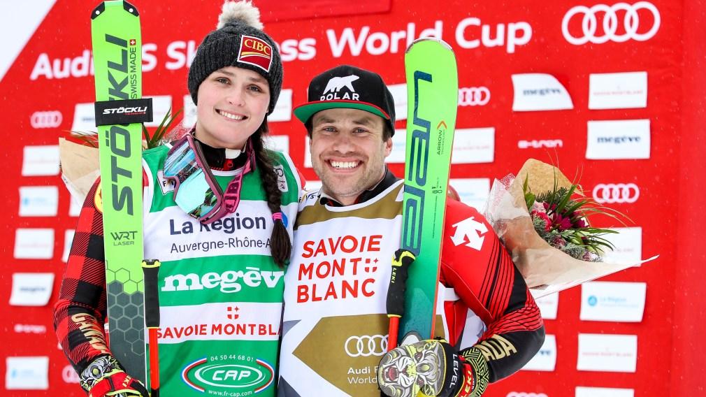 Marielle Thompson et Kevin Drury posant après leur course