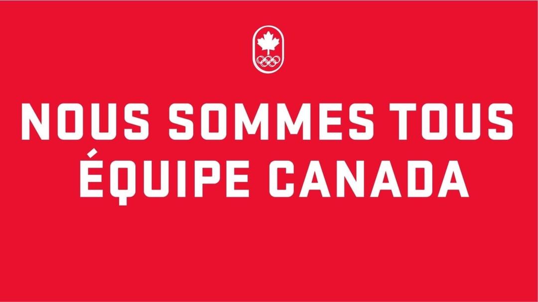Nous sommes tous Équipe Canada, texte blanc sur fond rouge