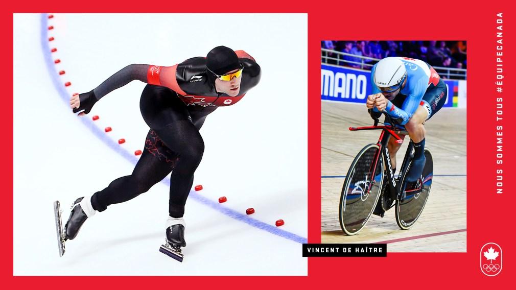 Photomontage : Vincent de Haître patine, et fait du vélo sur piste