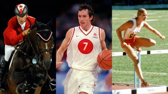 Photomontage de trois photos : Eric Lamaze, Steve Nash et Diane Jones Konihowski