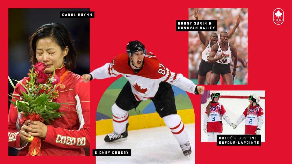 Collage de photos de Carol Hyunh, Sidney Crosby, les soeurs Dufour-Lapointe, Bruny Surin et Donovan Bailey