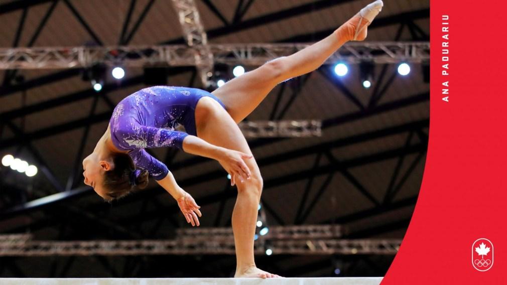 Ana Padurariu en action sur la poutre