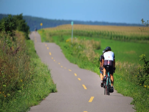 Deux cyclistes parcourent la Véloroute des bleuets.