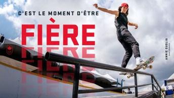 Annie Guglia fait du skateboard