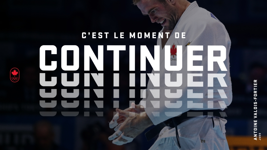 Photo d'Antoine Valois-Fortier avec le texte : C'est le moment de continuer.