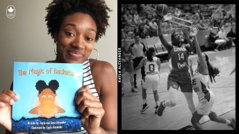Kayla Alexander montre son livre La Magie du basketball