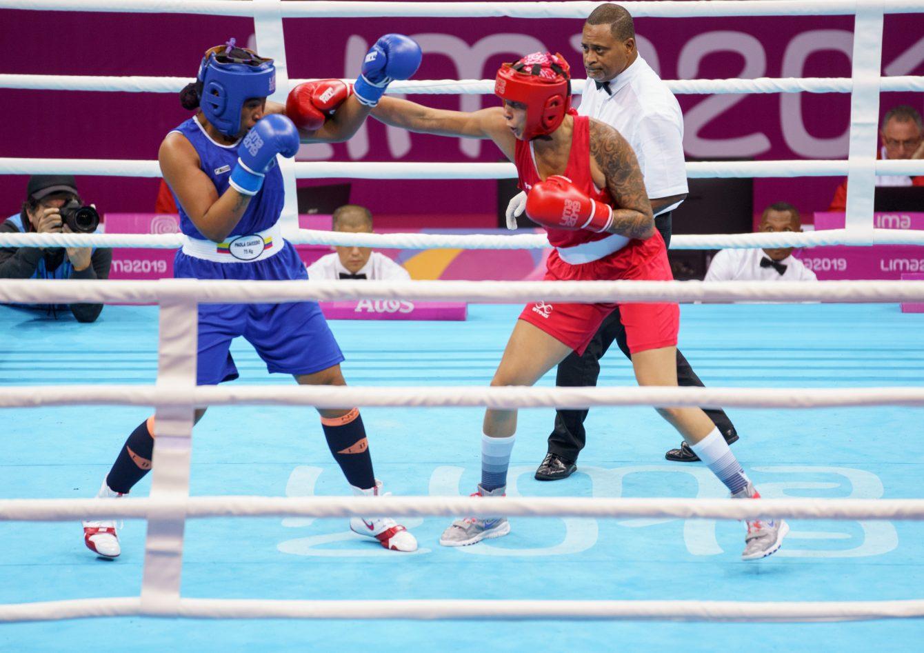 Tammara Thibeault d'Équipe Canada gagne le bronze dans la catégorie féminine des 75 kg aux Jeux panaméricains de Lima 2019 le 30 juillet 2019.