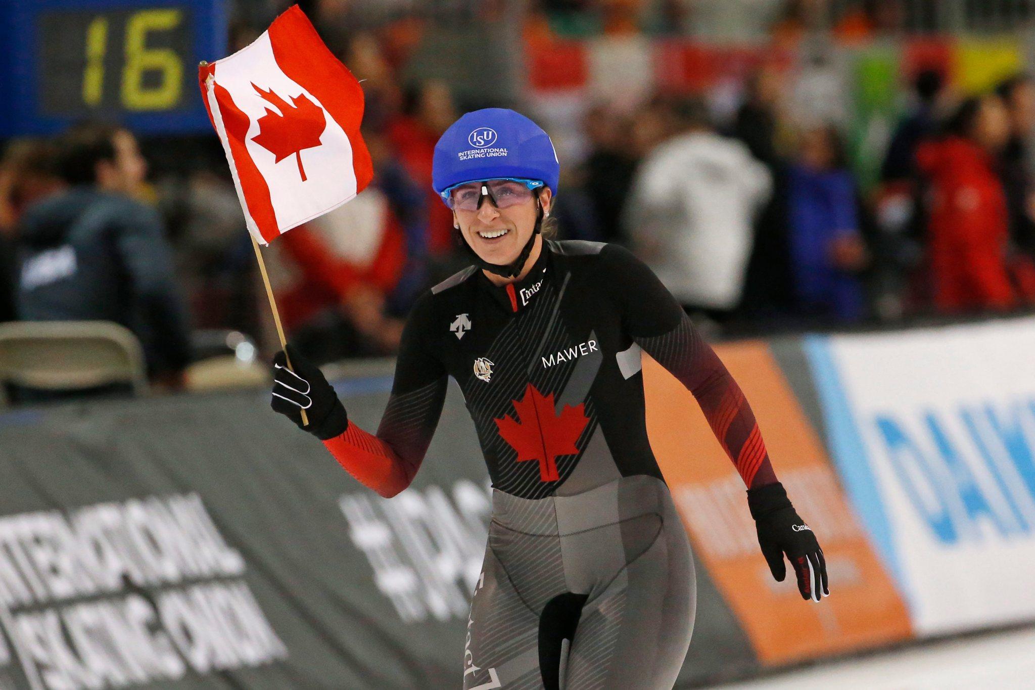 Ivanie Blondin d'Équipe Canada célèbre sa performance aux Championnats du monde de distance simple le dimanche 16 février 2020 à Kearns, Hutah.
